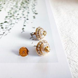 Tory Burch Natalie Pearl Logo Stud Earrings